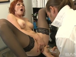 Kinky dude ass fucks naughty red haired MILF Audrey Hollander with giant fuck...