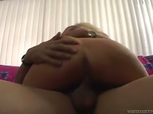 Young man enjoys drilling cougar blonde with massive boobs