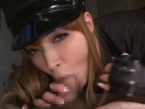 Police woman get a huge cock anchor at the core of her pussy before blowing...