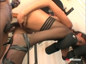 Wondrous brunette in stockings takes massive big black cock in her vagina