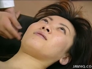 Thirsty and kinky dude licks Japanese girl from head to toes