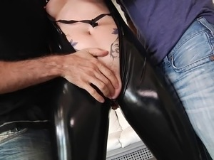 Enchanting brunette cowgirl in leather giving a superb blowjob as she gets...