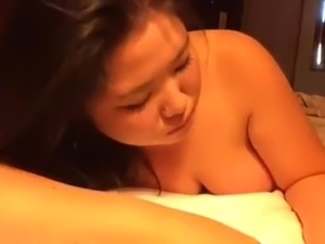 Asian American chubby sucks ebony cock then gets doggied