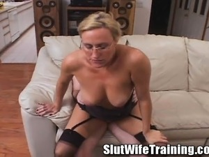 Slutty blonde teacher with glasses Joey Lynn gets schooled in hard sex