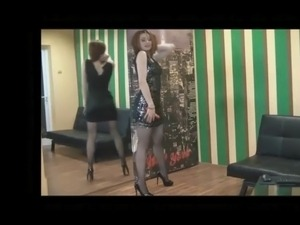 Housewife in mini dress and high heels 2