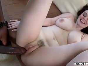 Hussy slut Tessa Lane sucks a long black dick and feeds the guy with juice