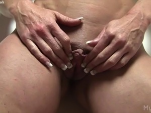 Audrey is shy until she shows off her big clit