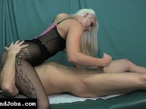 Stacked blonde with a heart-shaped ass Macy Cartel delivers a handjob