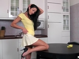 Gorgeous Brunette Britney Masturbates On Top Of A Kitchen Table