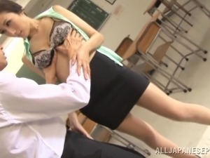 Mini-Skirt Clad Japanese Teacher With A Hot Body Enjoying A Hardcore Fuck