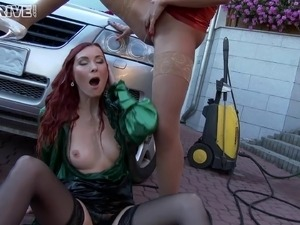Stunning redhead's tongue is all a pretty girl wants to feel