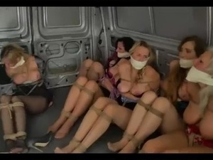 Funny - 8 bondaged girls prepared for transportation