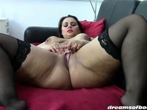 GERMAN BBW PAWG SAMANTHA MASTURBATING IN BLACK STOCKINGS