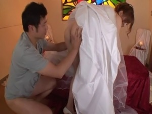 Japanese bride in panties cherished with massive dongs hardcore