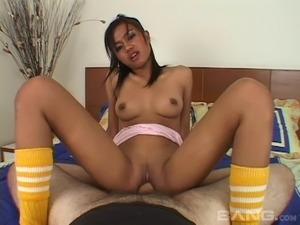 Asian hussy called Jen enjoys jumping on a hard cock