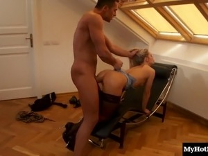 Seduced long hair blonde in miniskirt ravished from different angles