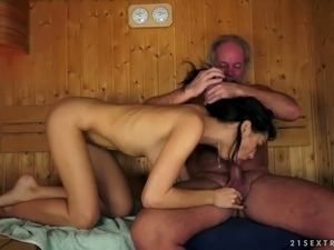 Beautiful brunette doll eating ass of old and fat dude