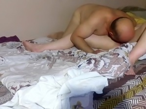 eating his mature wife's puss is his hobby