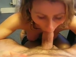 Light haired amateur MILF in stockings gave my buddy a dope blowjob