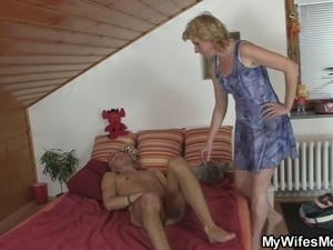 Mother-in-law comes in and helps him out