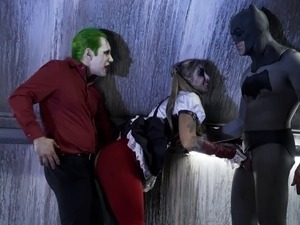 Joker and Batman team up and surround Harley Quinn with their cocks!