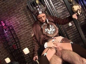 Sexy milf with nice ass having her shaved pussy blasted hardcore