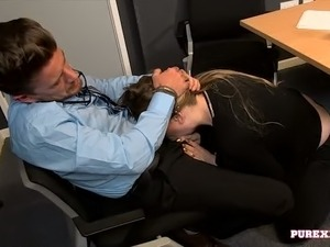 Fair haired pretty chick performs solid deep throat to her boss on her first day