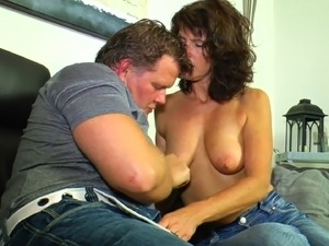 Older lady seduced into sucking and riding a stiff dong