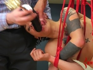 Nasty piss humiliation and rough anal sex makes her suffer