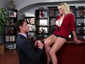 Milf with fake tits pleasured doggystyle till reaching orgasm