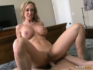 Busty blonde mom rides a cock after long-lasting oral sex