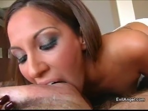 Ravishing brunette with small tits getting her face fucked hardcore