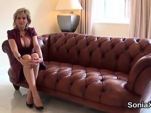Adulterous british milf lady sonia showcases her oversized b