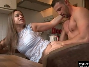 Muscular stud gives Olga Cabaeva a nice pounding in the kitchen