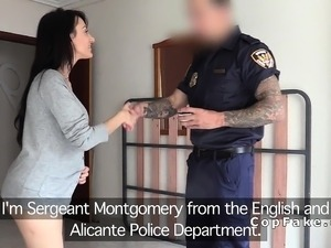 Big boobs amateur fucks fake cop in her flat