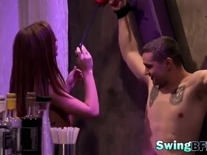 Curious couples swapping partners in swinger show