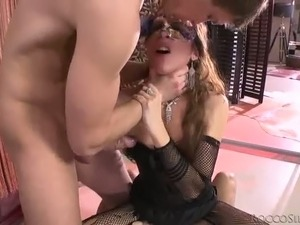 Masked whore Norma Jane is addicted to gangbang sex