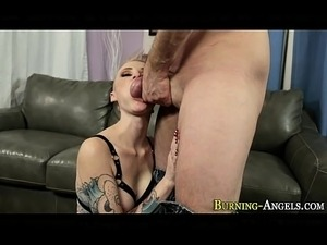 Punk rock slut rides cock