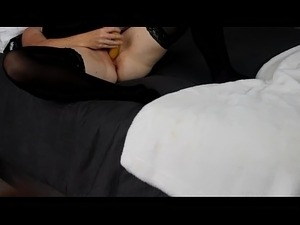 Horny wife home alone fucks herself with 8inch dildo and banana till orgasm