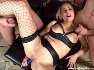 Enslaved dame in fishnet stockings giving breathtaking blowjob before getting...