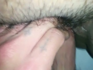 Pounding wet hairy vagina in a missionary position in POV