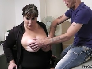 Busty secretary in pantyhose rides boss cock