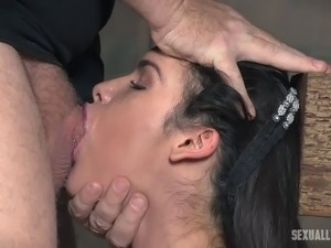 Long hair bondage dame enduring deapthroat smashing