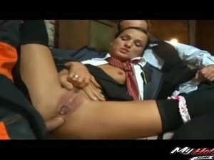 Two fat cocks for a stunning lady's tight anal hole