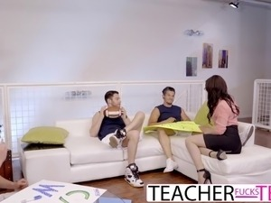 Hot Teacher Jennifer White DP Fuck With Students