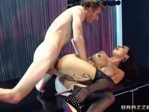 Beautiful Lingerie-Clad Porn Star Enjoying A Hardcore Anal Fuck In Her Bedroom