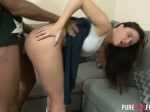 Raven haired shy GF Pixie Little gets naughty with fuck hungry black buddy on...