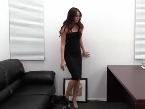 Filming Isabella while pounding her on a leather sofa