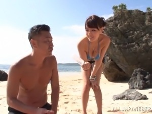 Bikini-clad Asian whore with a beautiful body enjoying a hardcore threesome