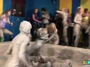 Hot Euro sluts love mud wrestling